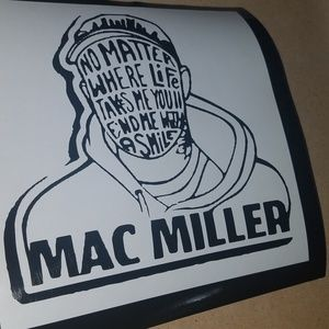 "7"" black mac miller decal."
